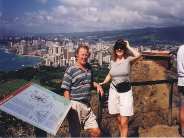 Top of Diamond Head with Waikiki in background